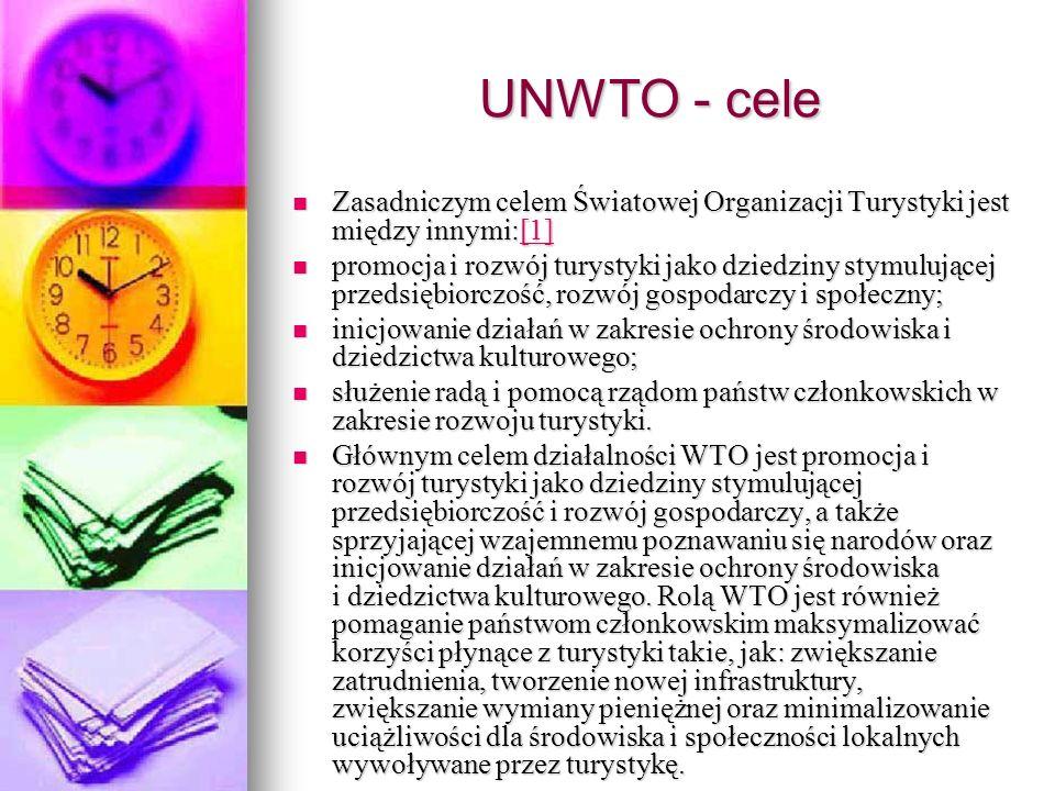 UNWTO - cele Zasadniczym celem Światowej Organizacji Turystyki jest między innymi:[1]